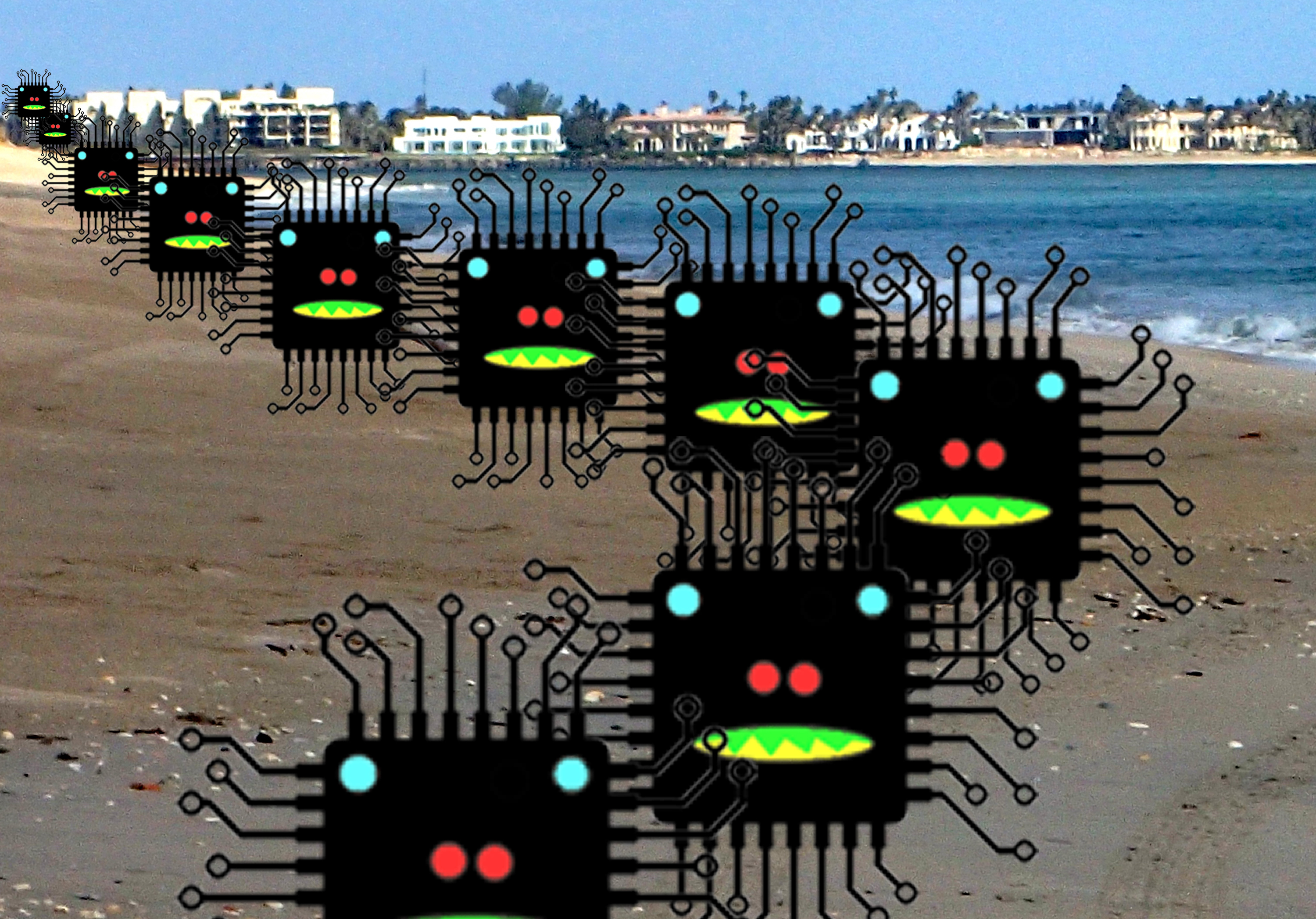 Microprocessors on parade on beach